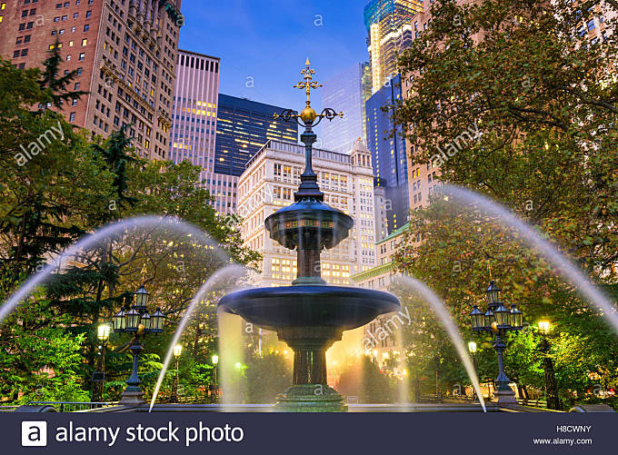 New York City financial district cityscape at City Hall Park. - Stock Image