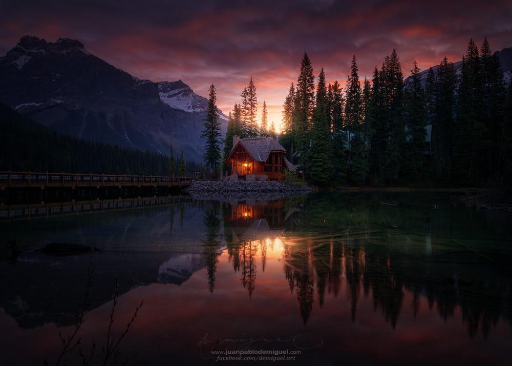 Amanecer en Emerald Lake (on black).
