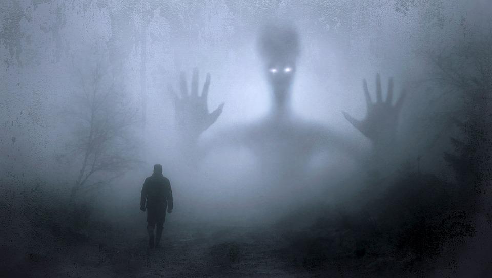 幻想, 雾, 令人毛骨悚然, 神秘, 心情, 男子, 步行, 夜