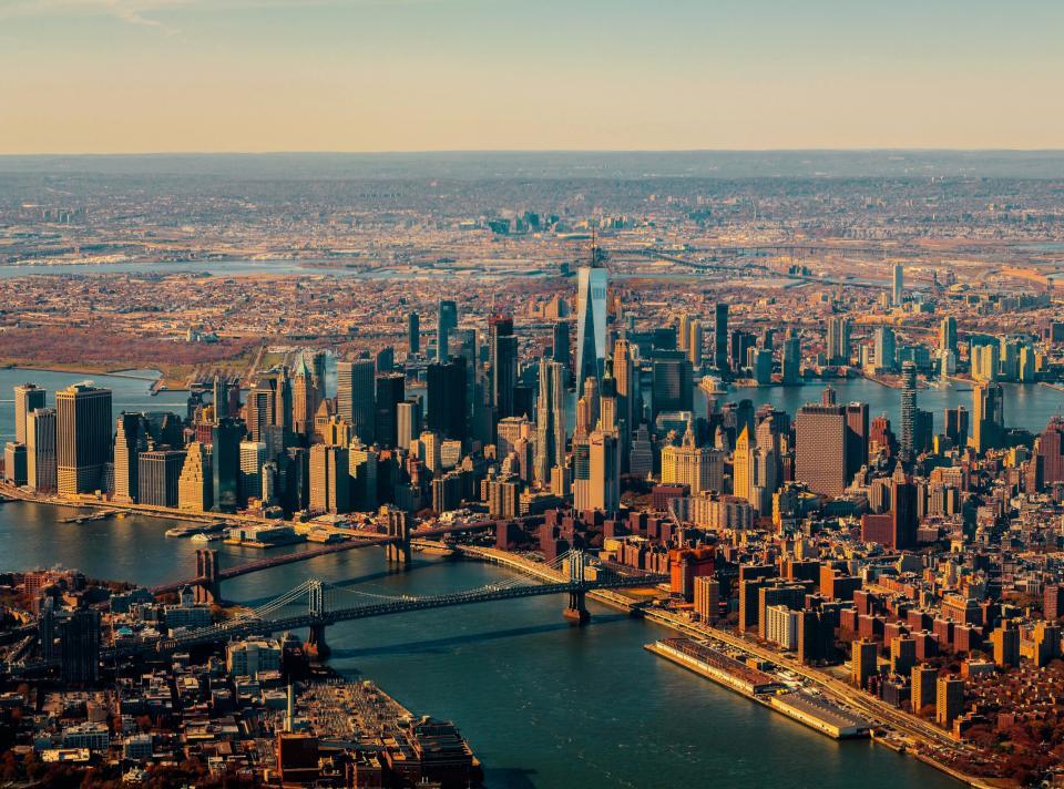 architecture, buildings, infrastructure, blue, sky, horizon, river, water, tower, skyline, skyscraper, city, urban