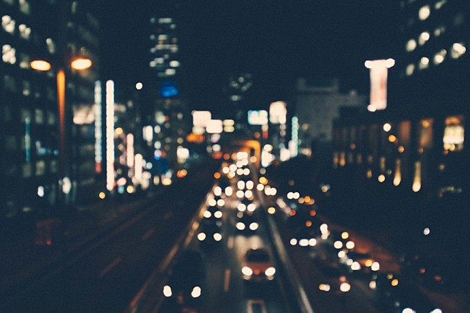 Night city with bokeh effect