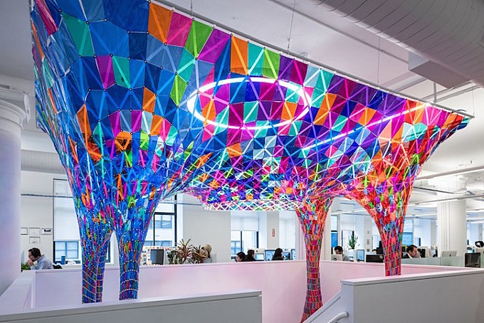 SOFTlab designs stained glass-inspired installation for Behance's New York offices
