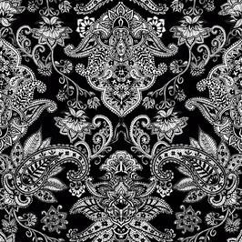 Monochrome Paisley Print
