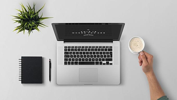 笔记本电脑, 打破, 咖啡, 技术, 计算机, 办公室, 互联网, 人, 现代