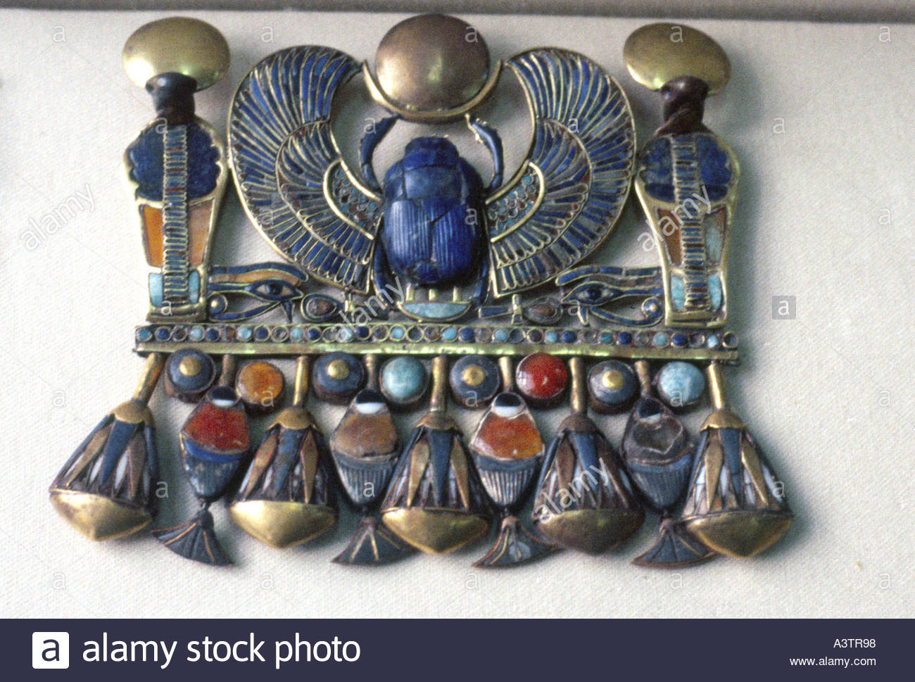 Exquisite intricate goldenpectoral jewellery of King Tutankhamun found in Valley of Kings tomb exhibited  Cairo - Stock Image