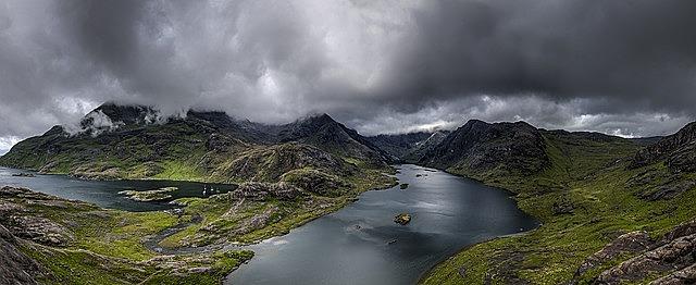 cloudy, lake, landscape