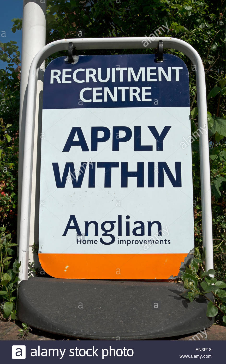standing sign for an anglian home improvements recruitment centre, kingston upon thames, - Stock Image