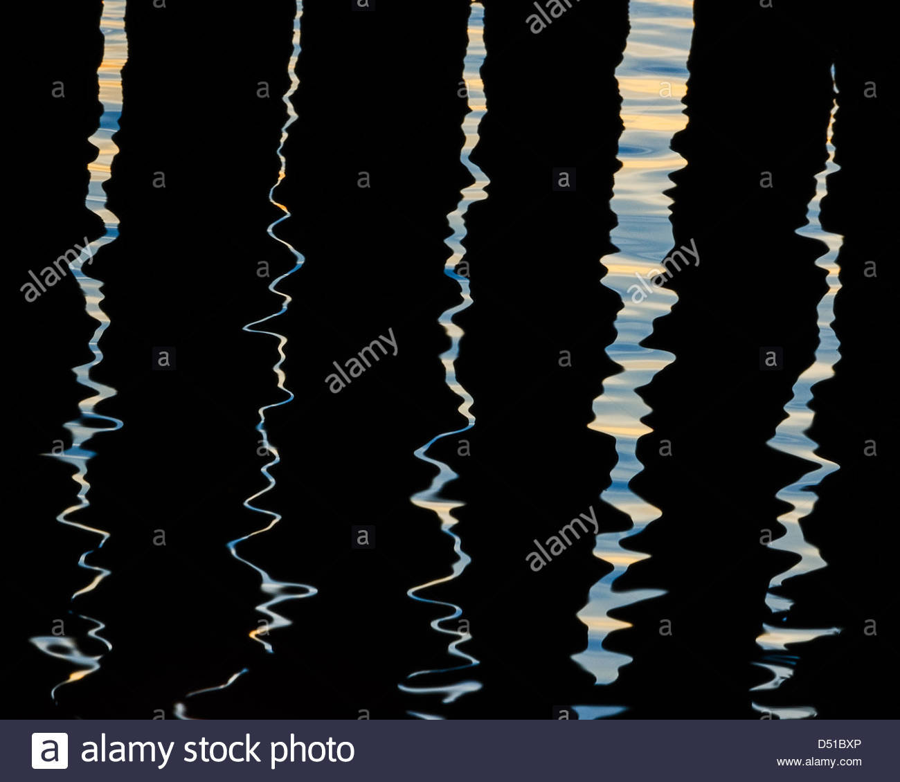 Abstract water reflections at Tumlehed, Hisingen, Sweden - Stock Image
