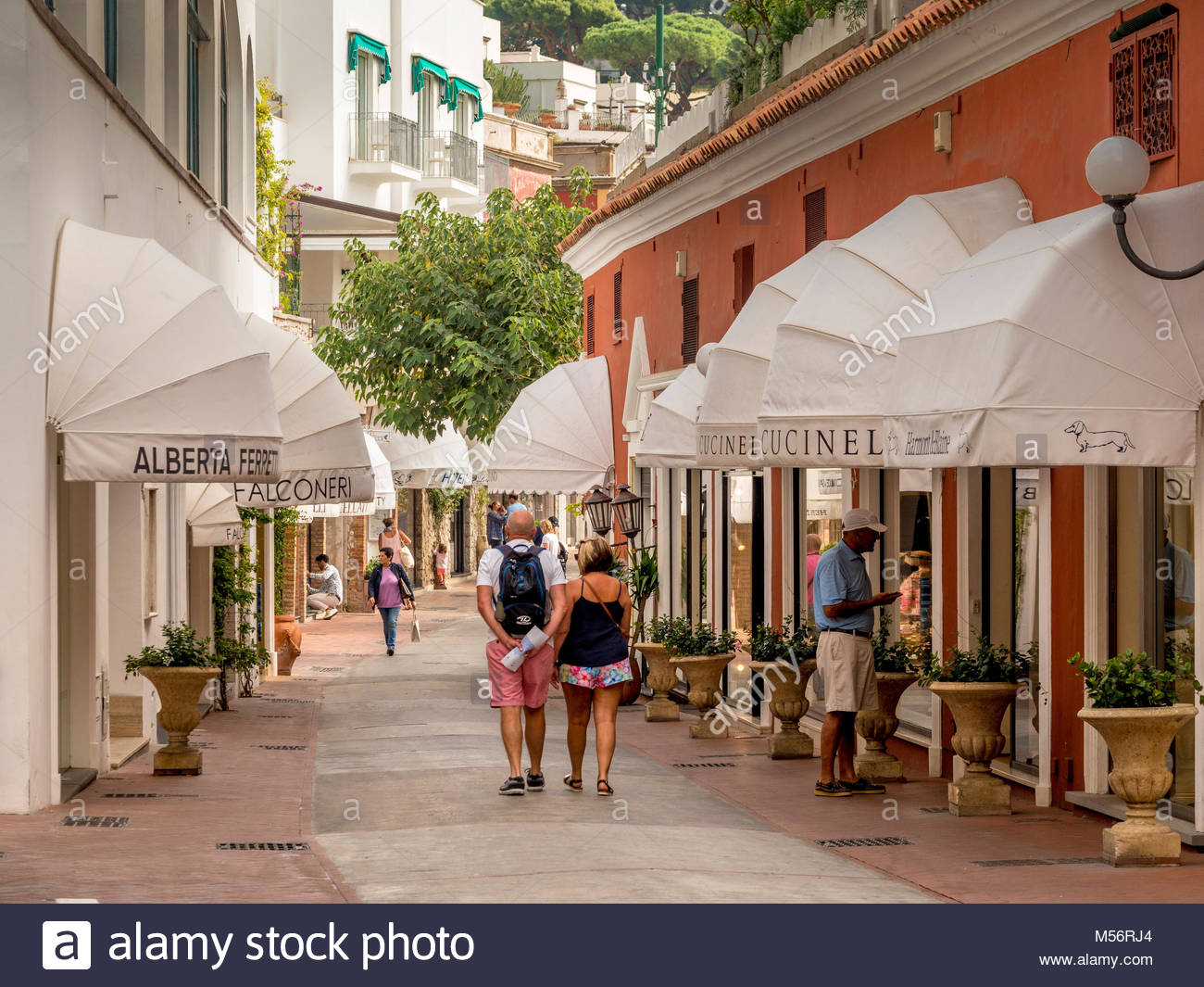 Tourists in typical shopping street , Capri, Italy. - Stock Image