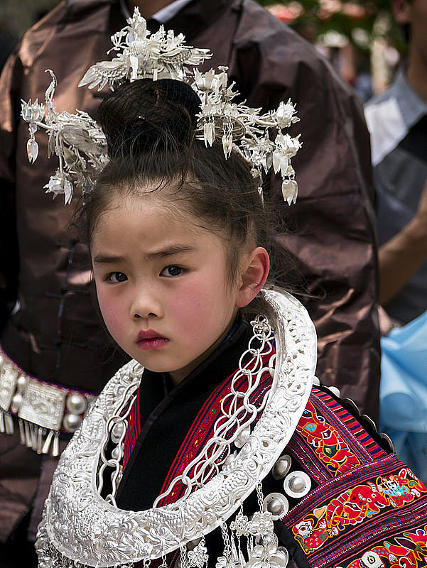 Miao girl at the Sister's meal Festival - Guzihou China