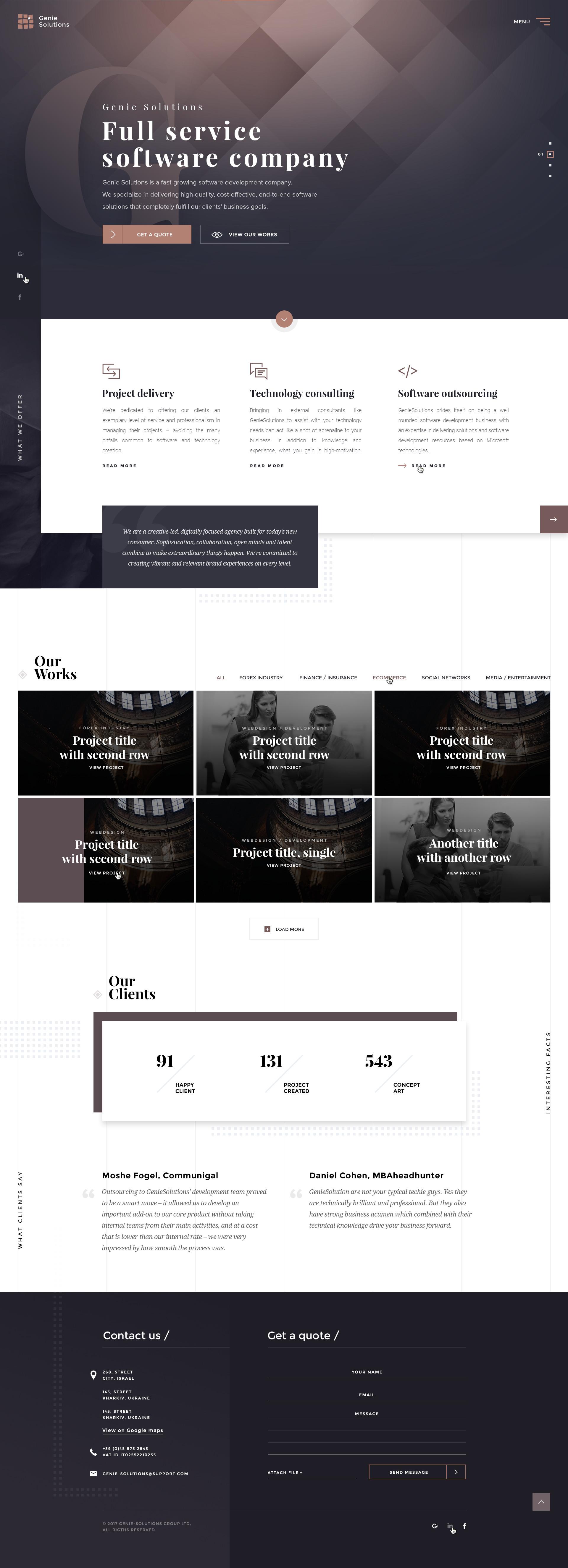 Software company homepage