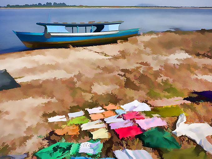 Washday colour impression on the riverbank at Mingun