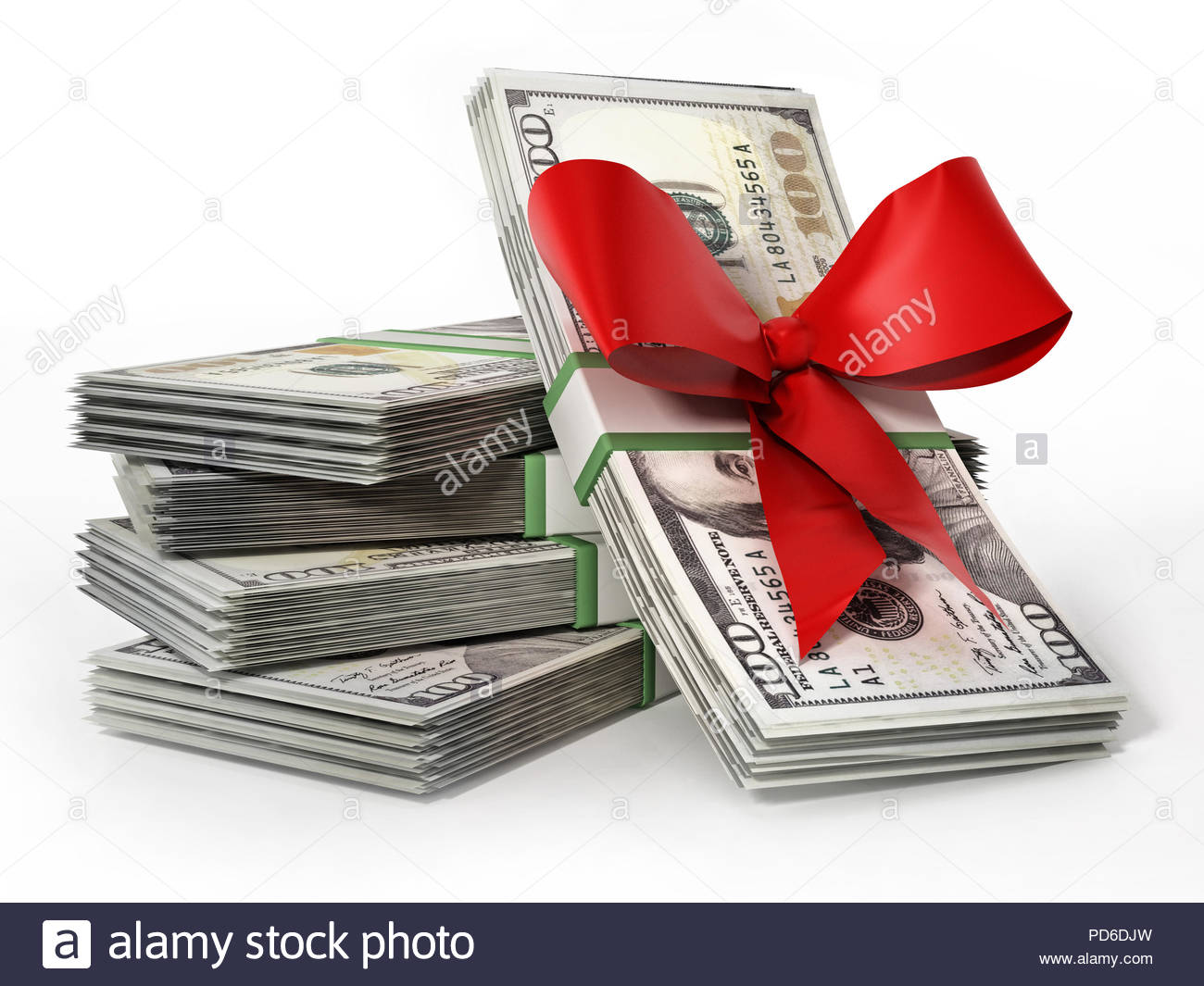 100 dollar money bills with red ribbon. Business and success concept. 3D illustration. - Stock Image