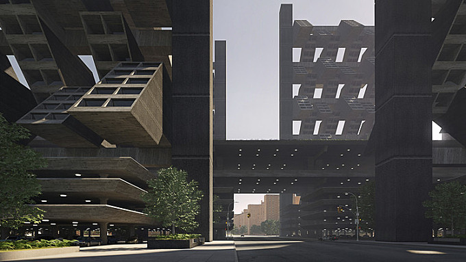 Modernist Icon Paul Rudolph's Unbuilt LOMEX Completed in New Renderings, Plaza by the Williamsburg bridge. Image Courtesy of Lasse Lyhne-Hansen