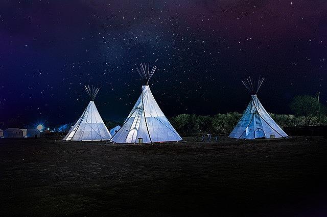 teepee, night sky, stars
