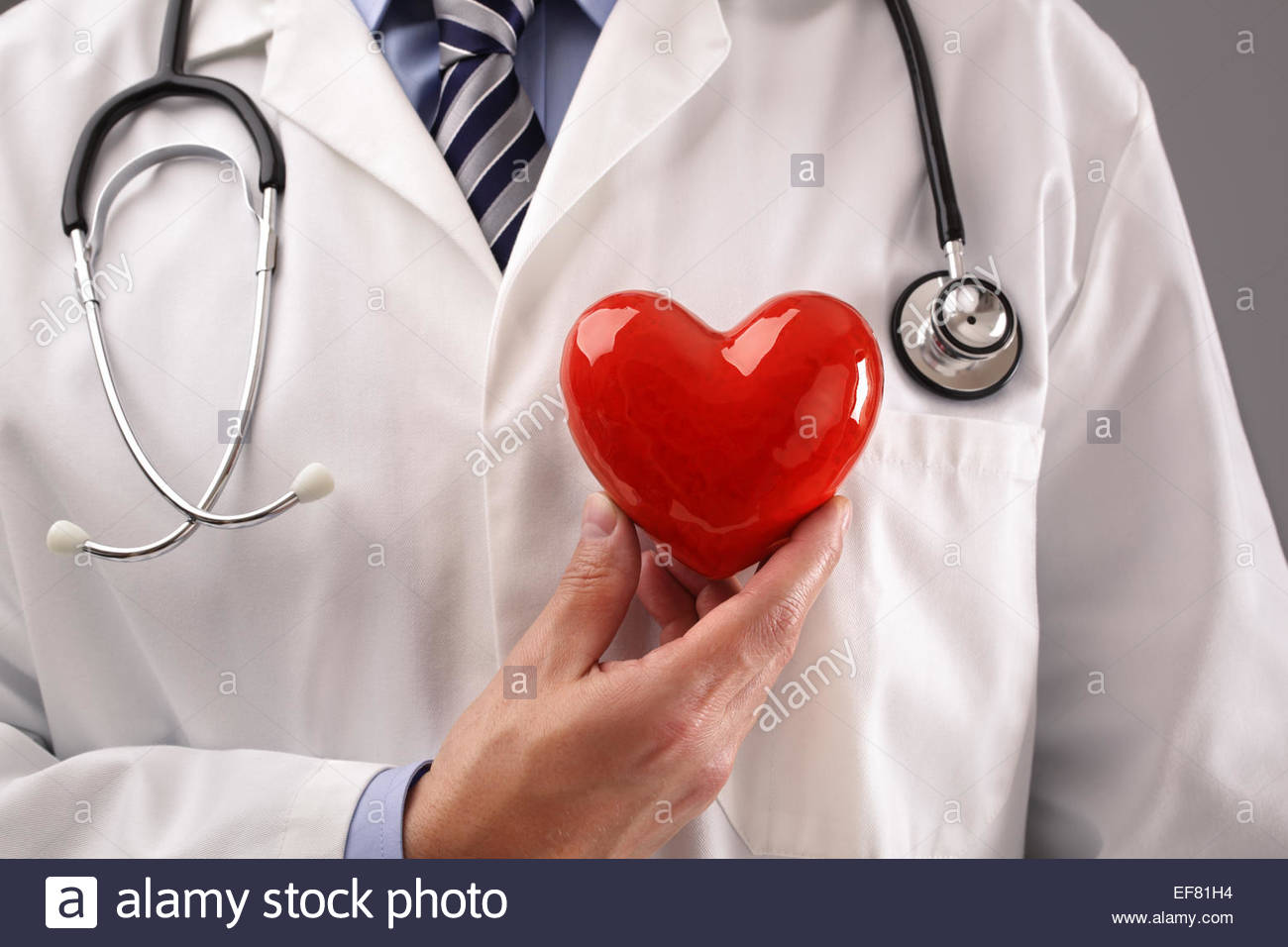 Doctor holding heart against chest - Stock Image