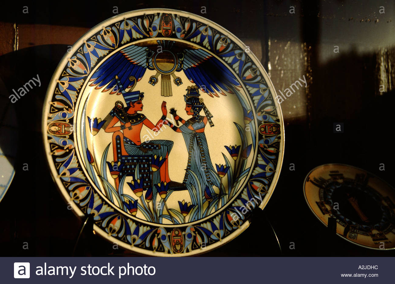 Africa - Egypt - Luxor - Egyptian plate on display in Luxor store window - Stock Image