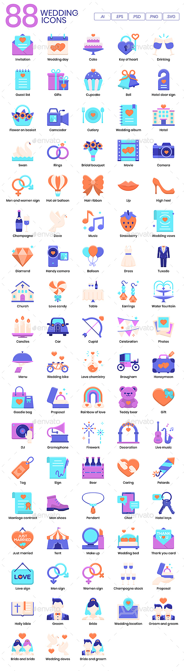 Making Big Days Even More Memorable  Whether you are wedding planner, bridal studio, or a pair of newly engaged couple planning for your big day, you may find these 88 Wedding Flat Icons useful for the following purposes: - to announce your big day on your website - as supporting graphics on your social media such as Facebook Page, Instagram Story Cover, Pinterest Graphics and more - to beautify your bridal agency presentation slide deck - to design eye-catching wedding infographics for your studio - as decorating element in your print based materials such as brochures, flyers, business cards and more… the possibilities are endless!   This Wedding Icon Set Includes:  Invitation, wedding day, cake, key of heart, drinking, guest list, gifts