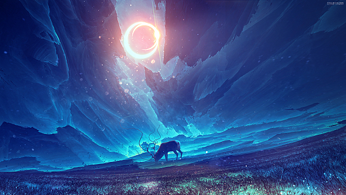 3d-fractal|abstract|animals|artwork|concept-art|deer|digital-art|elk|fantasy|fantasy-art|field|kuldar-leement