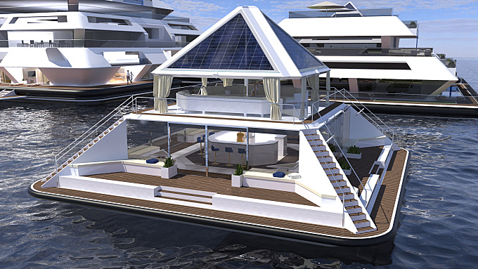 A Floating City in the Shape of a Pyramid