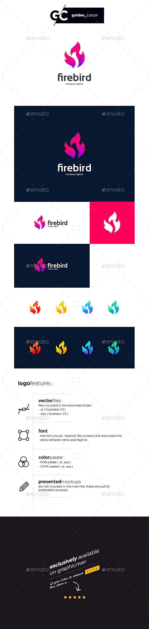 LOGO FEATURES:   	Full Vector ( EPS & AI format )   	100% editable and resizable content   	RGB color palate   	Free fonts   	NOTE :   	The preview mock-ups are not included in the download file, It's only for the presentation purpose. Contact me via my profile page if you need any assistance. All logos in my portfolio are exclusively available only on Graphicriver.   	Thank you for your purchase and support. 'YOU HAVE A GREAT CHOICE' Enjoy
