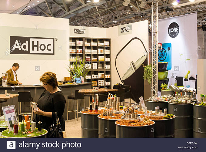 Booth of German company AD HOC on the Ambiente trade fair on February 16, 2013 in Frankfurt, Germany. - Stock Image