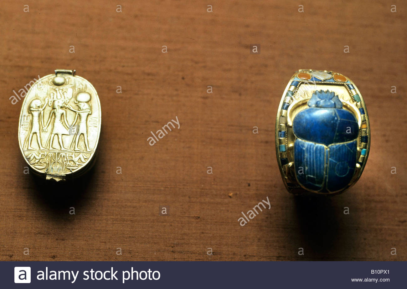 Tutankhamun Treasure scarab and bracelet Egypt Copyright AAAC Ltd - Stock Image