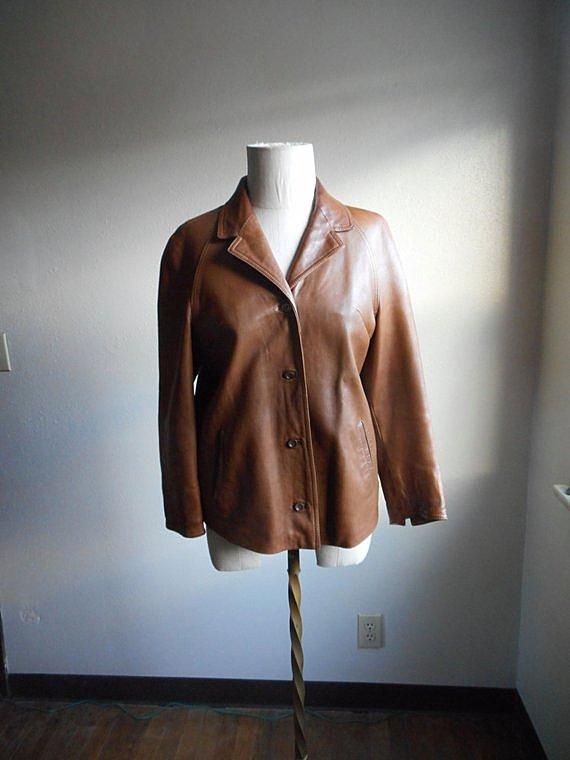 vintage 60s women's eros modell soft caramel brown leather double lapel bohemian troubadour vagabond raglan jacket