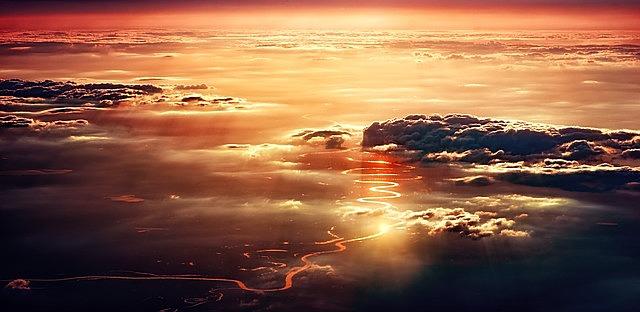 clouds, sunset, sun