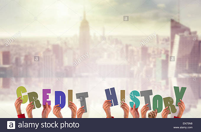 Composite image of hands holding up credit history - Stock Image