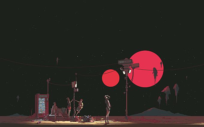 people red-moon space teens telephone
