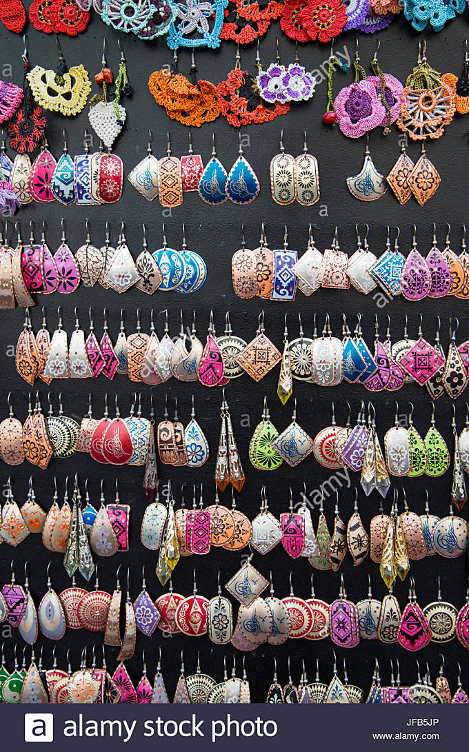 Colourful costume Jewellery, Istanbul, Turkey - Stock Image
