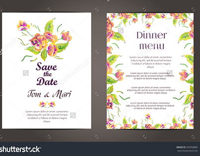 Wedding floral template collection.Wedding invitation.