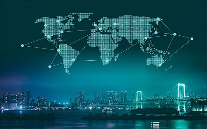 Trade and Commerce - World Map Over City at Night