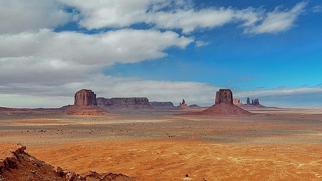desert landscape, monument valley, mountains