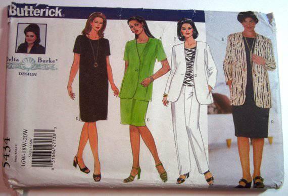 Butterick Pattern #5434 Delta Burke Design Dresses, Tops, Pants Sizes 16W-18W-20W Uncut