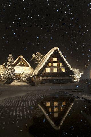 Snow, 白川方明, Nunohneun夜, 白川鄕, 首页, 夜景