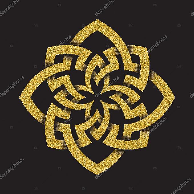 金闪闪发光的八角形符号