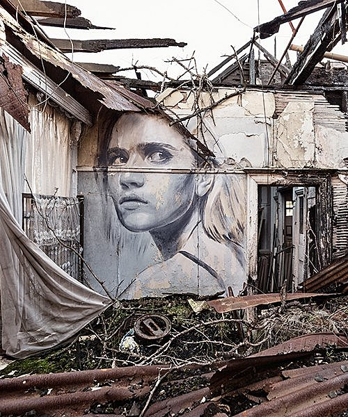 rone's murals of beautiful women haunt wrecked buildings