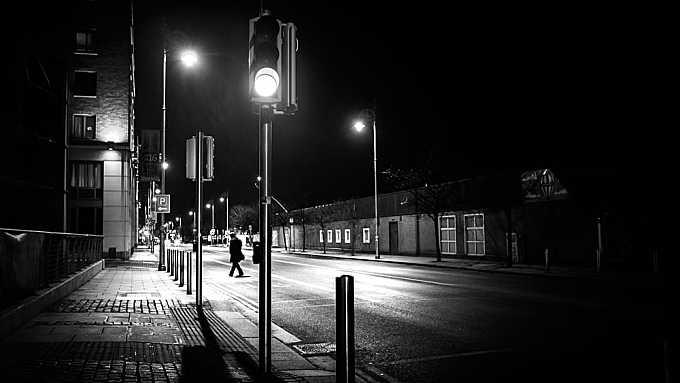 Green light - Dublin, Ireland - Black and white street photography