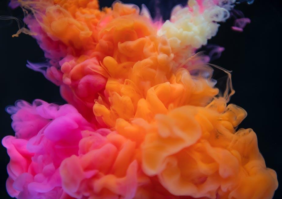 Orange, White, and Pink Smoke Digital Wallpaper