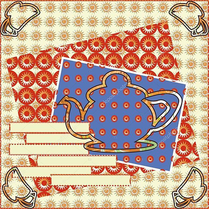 茶党邀请卡舒适剪贴簿轮廓图的绘制
