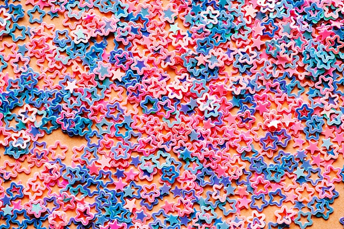Blue, Pink, and Teal Stars