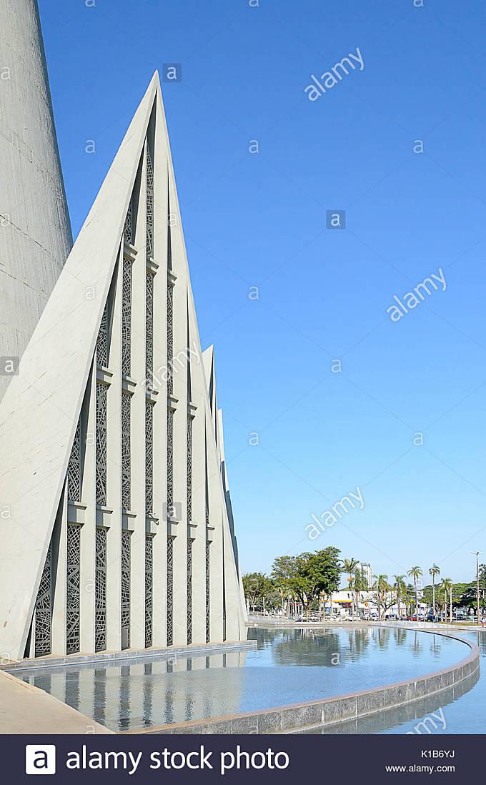 Maringa, Brazil - July 23, 2017: Triangular architecture details of Catedral Basilica Menor Nossa Senhora da Gloria - Stock Image