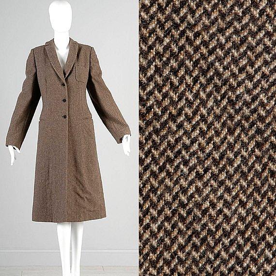 Medium Armani Collezioni Winter Coat Made in Italy Wool Tweed Brown Tan Long Over Coat Winter Sleek Minimal Casual Vintage Coat