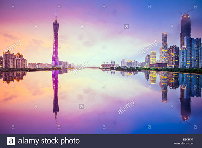Guangzhou, China city skyline on the Pearl River. - Stock Image