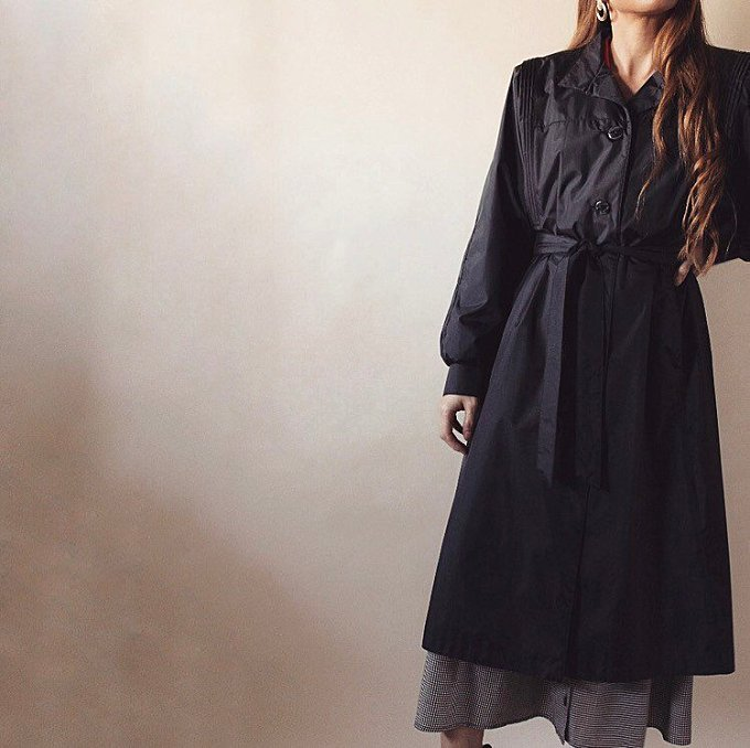 Vintage 80s Black long duster belted jacket   spy trench maxi structured minimal coat jacket   7/8 Medium