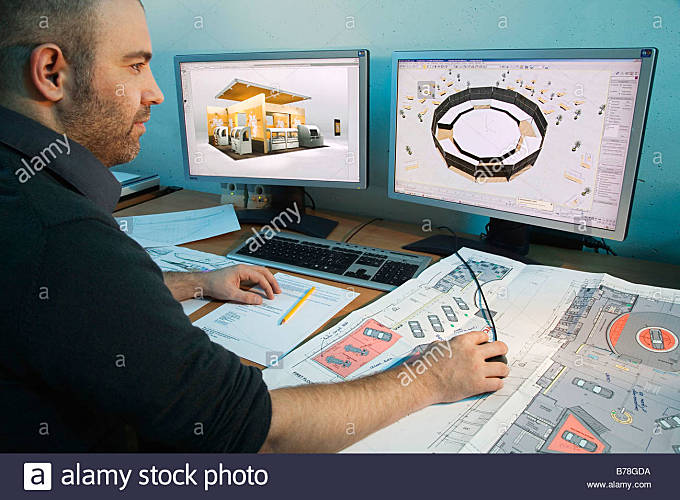 CAD draughtsman and designer in the CAD and Design department for exhibition booths of the Expomobilia company planning - Stock Image